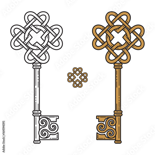 Key In The Celtic Style Sign Of Wisdom Stock Image And Royalty