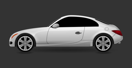 Vector automobile coupe isolated profile side view. Luxury modern sedan transport auto car. Side view car design illustration