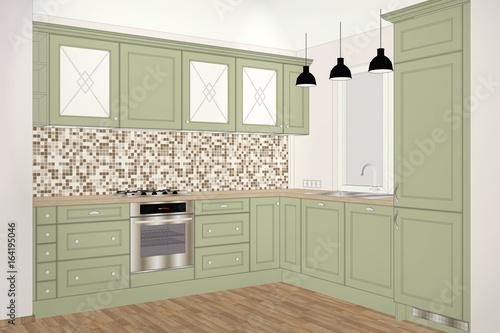 3d Illustration Classic Kitchen Design In Light Interior Kitchen
