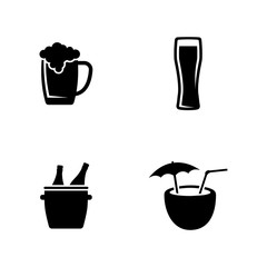 Alcoholic. Simple Related Vector Icons Set for Video, Mobile Apps, Web Sites, Print Projects and Your Design. Black Flat Illustration on White Background.