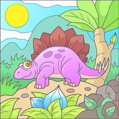 Cartoon cute stegosaurus funny picture