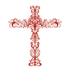 ornate red cross isolated on white background, symbol of Christian religion, church bulletin design