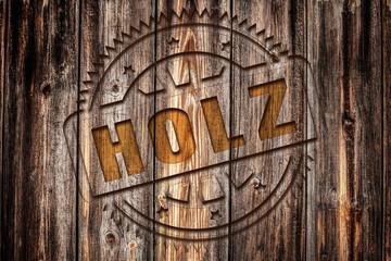 HOLZ, Stempel auf Holz