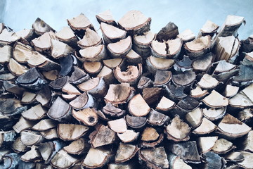 Close-Up Of Firewood Stack