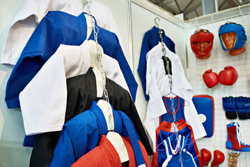 Foto auf AluDibond Kampfsport Clothing and equipment for martial arts in shop