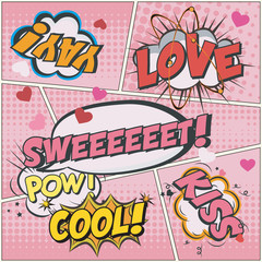 eps Vector image:Comic callout LOVE style pattern
