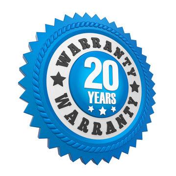 20 Years Warranty Badge Isolated