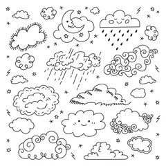 Cloud hand drawn Clouds icons set. Children's sky and weather symbols, Night sky, moon, rain and other cartoon comic cute clouds. Vector