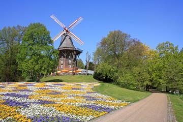 Old windmill in park in Bremen, Germany
