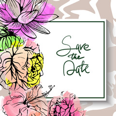 Vector drawn save the date card with hand drawn tropical flowers on watercolor background with hand lettering.