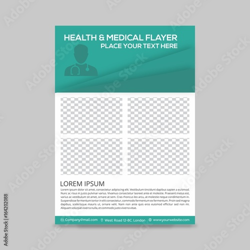 green and white boxes with doctor silhouette medical flyer layout