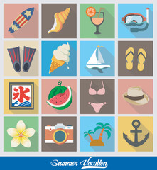 eps Vector image:Flat icon Summer Vacation