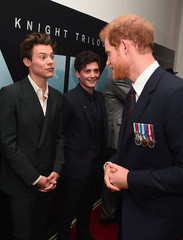 (L-R) Actors Harry Styles and Aneurin Barnard, and Prince Harry attend the 'Dunkirk' World Premiere at Odeon Leicester Square on July 13, 2017 in London, Britain