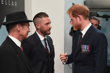 Prince Harry (R) and actors Mark Rylance (L) and Tom Hardy (C) attend the 'Dunkirk' World Premiere at Odeon Leicester Square on July 13, 2017 in London, Britain.
