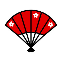 Red Japanese fan. Vector icon.