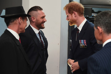 Prince Harry (R) and actors Mark Rylance (L) and Tom Hardy (C) attend the 'Dunkirk' World Premiere at Odeon Leicester Square on July 13, 2017 in London