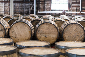 Fototapete - Bourbon Barrel Storage Room