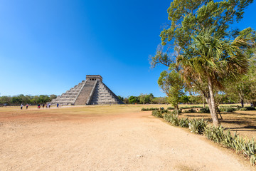 Chichen Itza - El Castillo Pyramid - Ancient Maya Temple Ruins in Yucatan, Mexico - travel destination