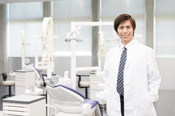 portrait of asian dentist in dental clinic