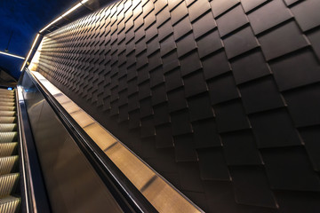 Details from the wall at the escalator in the new trainstation at Stockholm City