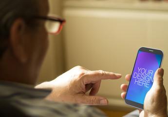 Senior Smartphone User Mockup 1