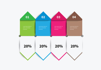 Four Section Double Sided Arrow Infographic Layout