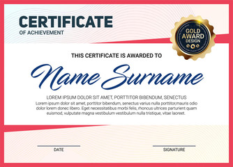 Vector certificate or diploma template with luxury line pattern and gold award emblem, Vector illustration