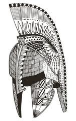 Spartan helmet. Zentangle stylized. Vector illustration. Pattern. Freehand pencil. Hand drawn. Zen art.