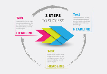 Three Section Colorful Arrow Infographic Layout