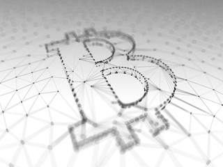 Abstract Black and White Bitcoin Sign Built as an Array of Transactions in Blockchain Conceptual 3d Illustration