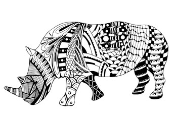 Rhino zentangle stylized, vector, illustration, freehand pencil, doodle, black and white. Zen art. Coloring book.
