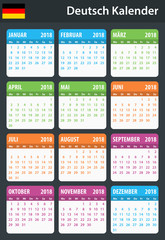 German Calendar for 2018. Scheduler, agenda or diary template. Week starts on Monday