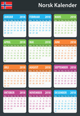 Norwegian Calendar for 2018. Scheduler, agenda or diary template. Week starts on Monday