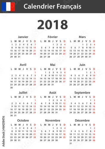 French Calendar For 2018 Scheduler Agenda Or Diary Template Week