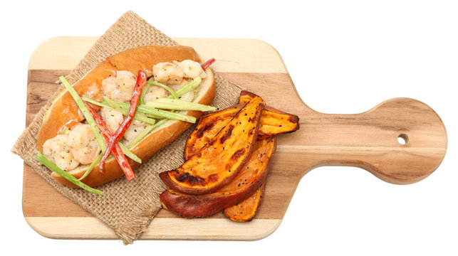Shrimp Roll and Sweet Potato Wedges