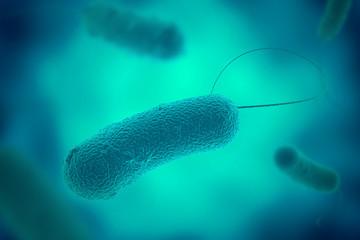 Legionella bacterium with flagella microscopic view 3D illustration