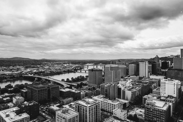 Downtown Portland in Black and White