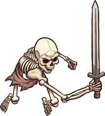 Skeleton warrior in attacking pose, top view. Vector clip art illustration with simple gradients. All in a single layer.