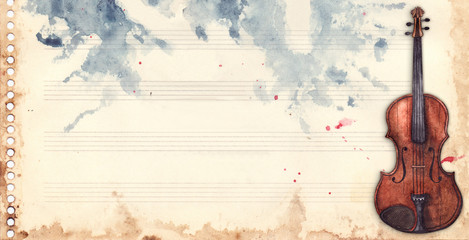 Vintage retro watercolor music sheet violin musical instrument frame background texture grunge backdrop