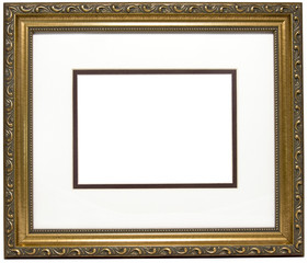 Empty golden wood picture frame and gold matte. Oooo...fancy. Copy space. Isolated.
