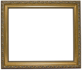 Empty golden wood picture frame. Oooo...fancy. Copy space. Isolated.