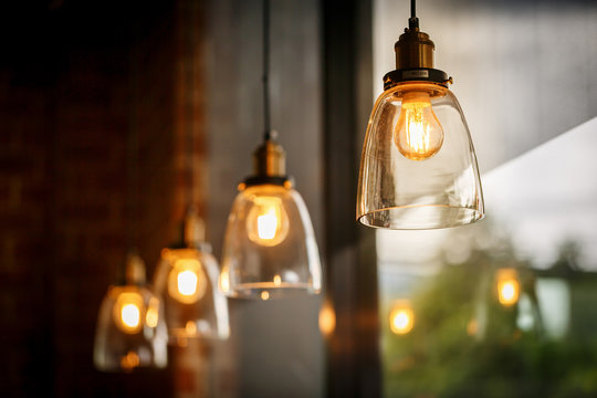 Classic glass pendants with incandescent bulb