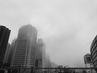 Detroit skyline fog