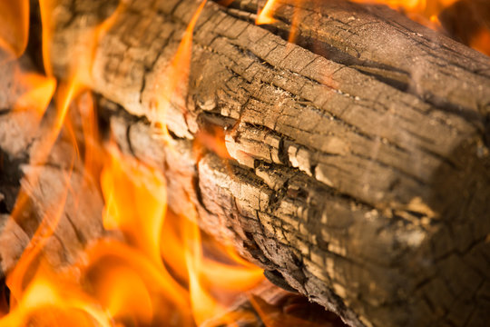Burning coal from wood as a background