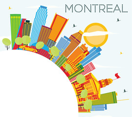 Montreal Skyline with Color Buildings, Blue Sky and Copy Space.