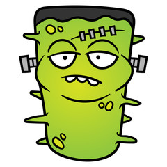 Cartoon Frankenstein Monster Virus or Bacteria Vector Illustration