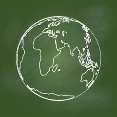 Hand drawing Earth on Green board -Vector illustration
