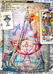 Foto auf Leinwand Phantasie Esoteric graffiti and manuscipts with collages,symbols,draws and scraps