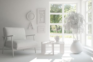 Idea of white room with armchair. Scandinavian interior design. 3D illustration
