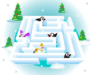 Maze game for kids: Help every snowman and every penguin get out of the ice maze.